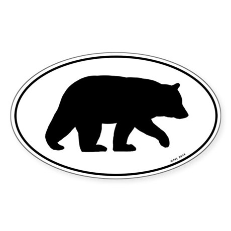 Black Bear Oval Sticker