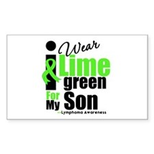 I Wear Lime Green For Son Rectangle Sticker 10 pk
