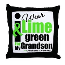 I Wear Lime Green For Grandson Throw Pillow