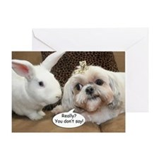 Bunny and Shih Tzu Birthday Greeting Card