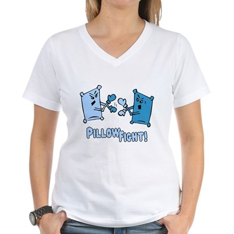 Pillow Fight Womens V-Neck T-Shirt
