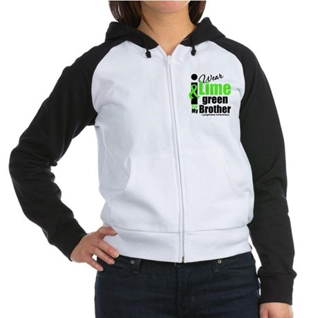 I Wear Lime Green For Brother Women's Raglan Hoodi