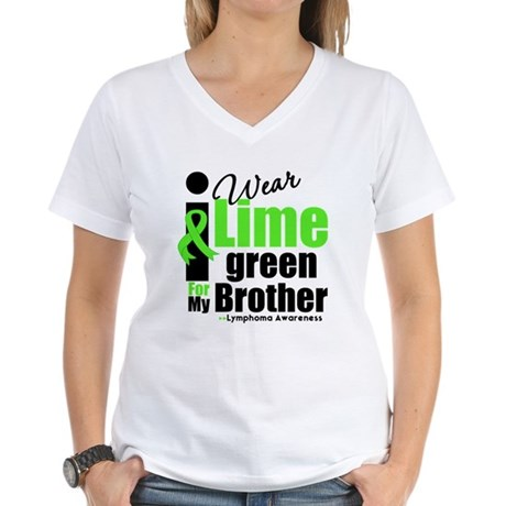 I Wear Lime Green For Brother Women's V-Neck T-Shi