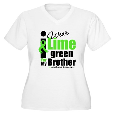 I Wear Lime Green For Brother Women's Plus Size V-