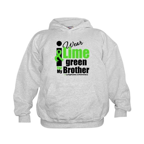 I Wear Lime Green For Brother Kids Hoodie