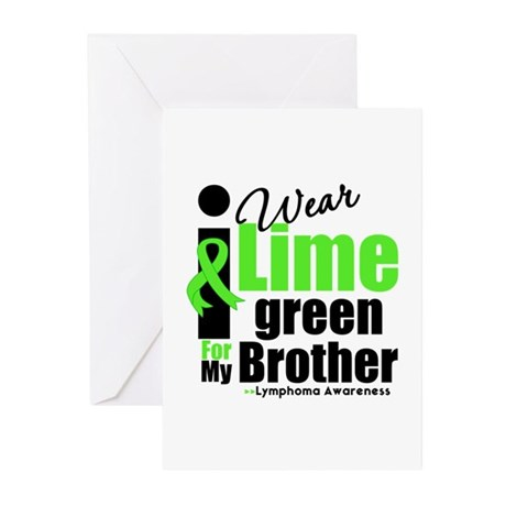 I Wear Lime Green For Brother Greeting Cards (Pk o