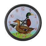 Mallard Ducks Large Wall Clock