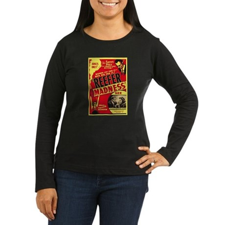 Vintage Reefer Madness Womens Long Sleeve Dark T-