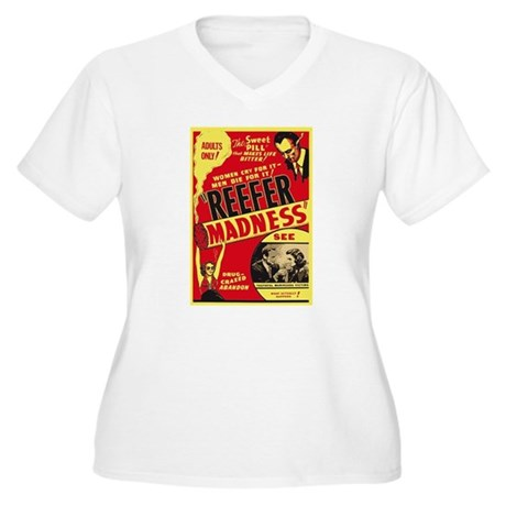 Vintage Reefer Madness Womens Plus Size V-Neck T-