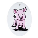 Chatty Pig Oval Ornament