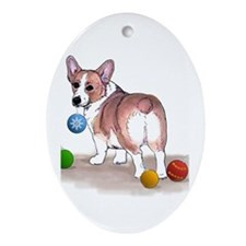 Pembroke Welsh Corgi Holiday Oval Ornament