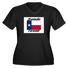 Salado Texas Women's Plus Size V-Neck Dark T-Shirt