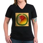 Wreath Gamecock Women's V-Neck Dark T-Shirt