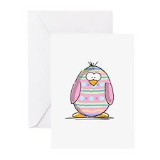 Pink Easter Egg Penguin Greeting Cards (Pk of 10)