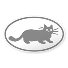 Black Cat Oval Decal