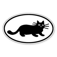Black Cat Oval Sticker (10 pk)
