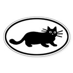 Black Cat Oval Sticker (50 pk)