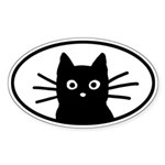 Black Cat Face Oval Sticker (50 pk)