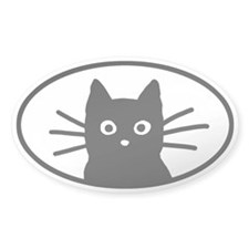 Black Cat Face Oval Decal