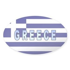 Greece Flag Labeled Oval Decal
