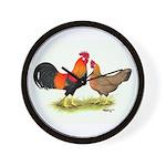 Leghorns Rooster & Hen Wall Clock