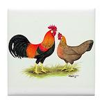 Leghorns Rooster & Hen Tile Coaster