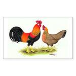 Leghorns Rooster & Hen Rectangle Sticker