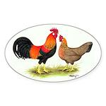 Leghorns Rooster & Hen Oval Sticker