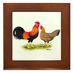 Leghorns Rooster & Hen Framed Tile