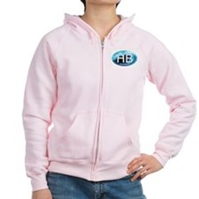 HB Hampton Beach, NH Wave Oval Zip Hoodie