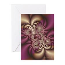 Burgundy/Gold Fractal Christmas Cards (Pk of 10)
