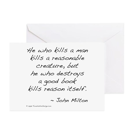 Milton on Books Greeting Cards (Pk of 10)