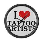 I Love Tattoo Artists Large Wall Clock