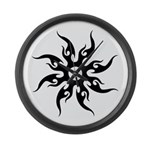 Tribal Sun (Black) Large Wall Clock