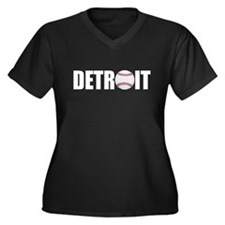 Detroit Baseball Women's Plus Size V-Neck Dark T-S