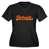 Detroit Baseball Script Women's Plus Size V-Neck D