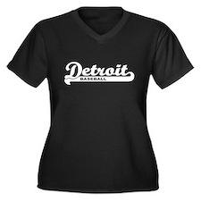 Detroit Baseball Script Women's Plus Size V-Neck D