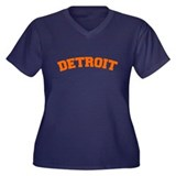 Detroit Orange Women's Plus Size V-Neck Dark T-Shi
