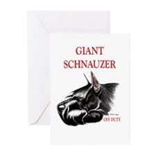 giant schnauzer off duty Greeting Cards (Package o