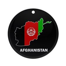 Flag Map of Afghanistan Ornament (Round)
