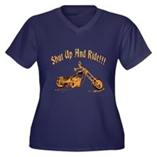 Shut up and ride! Women's Plus Size V-Neck Dark T-