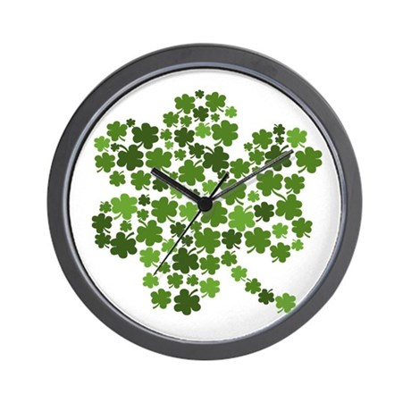 Shamrocks in a Shamrock Wall Clock