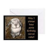 Begging Bunny Birthday Greeting Card