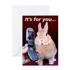 Bunny on Phone Greeting Card