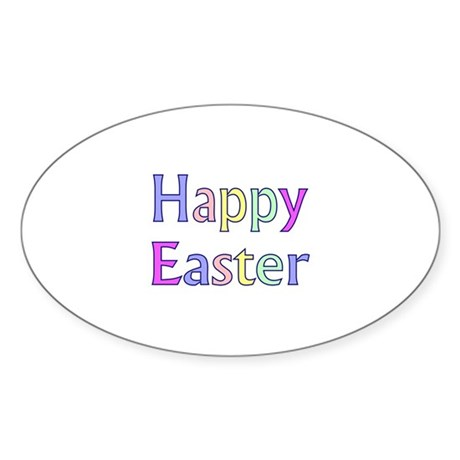 Pastel Easter Oval Sticker (50 pk)