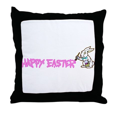 Paint Easter Bunny Throw Pillow
