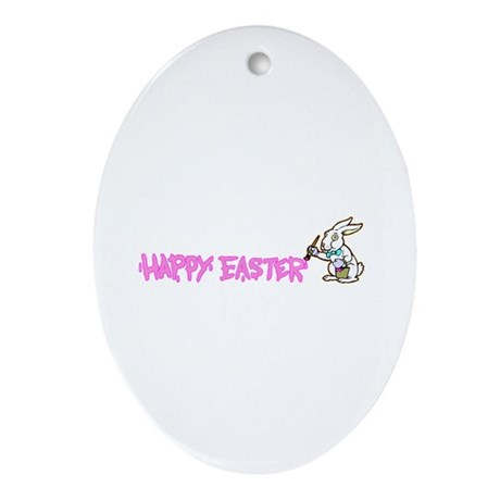 Paint Easter Bunny Oval Ornament