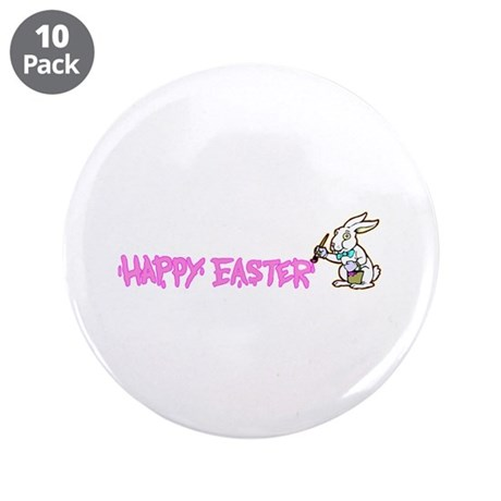 "Paint Easter Bunny 3.5"" Button (10 pack)"
