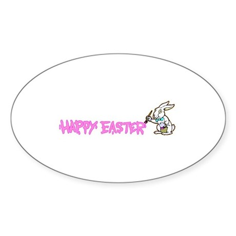 Paint Easter Bunny Oval Sticker