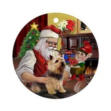 Santa's Norwich Terrier Ornament (Round)